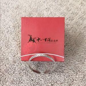 Women's S999 Sterling Silver Bangle Cuff Bracelet